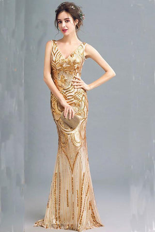 Fashion Sparkly Golden Sequins Mermaid Backless Sleeveless Floor-Length V-Neck Prom Dresses JS244