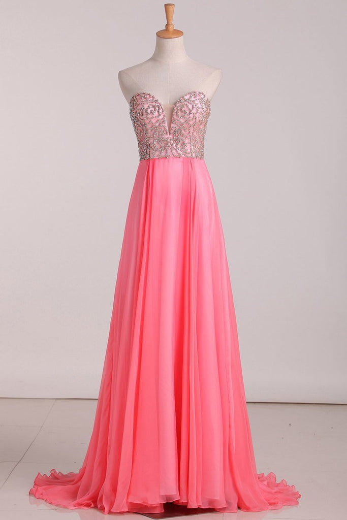 2021 A Line Prom Dresses Sweetheart Beaded Bodice Chiffon Sweep Train