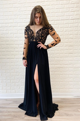 Long Sleeves Black Formal Dress High Slit Sexy Chiffon Long Prom Dress SMEPGNANEC5