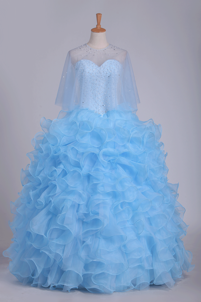 2020 Ball Gown Quinceanera Dresses Sweetheart Beaded Bodice Organza