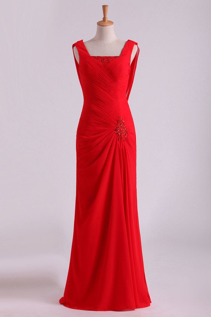 2019 Red Chiffon Evening Dresses Ruffled Bodice Floor