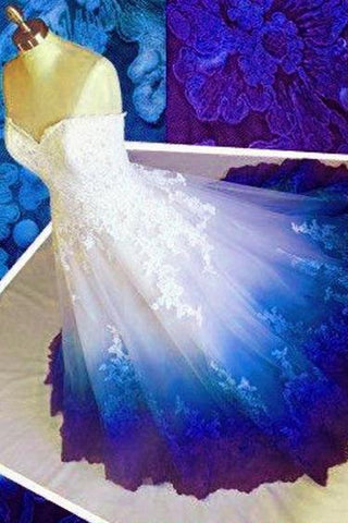 Ball Gown Sweetheart Long Prom Dresses, Strapless Quinceanera Dress with Applique SME15072
