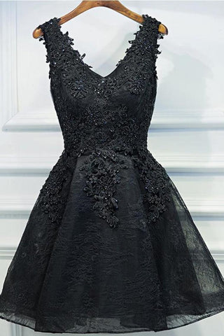 Black V Neck Homecoming Dresses,Appliques Beading Belt Short Prom