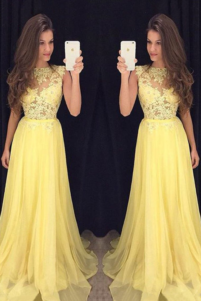 Prom Dresses Scoop A Line Chiffon With Applique Zipper