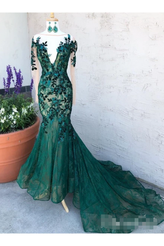 Dark Green See Through Prom Dresses With Sleeves Illusion Neck Party