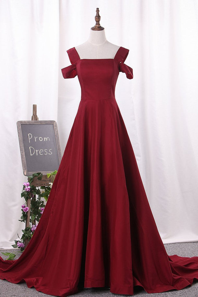 Straps Satin A Line Evening Dresses Sweep Train