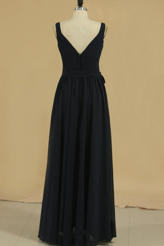 2020 Bridesmaid Dresses A Line Straps Ruched Bodice Chiffon Floor Length