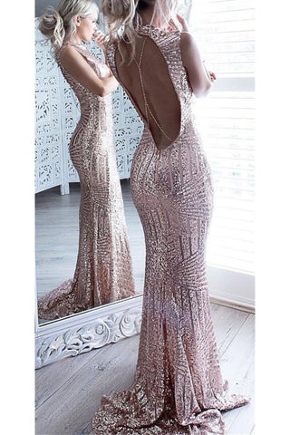 Sparkly Rose Gold Long Sheath Mermaid Open Back Prom Dresses Party