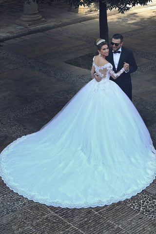 2021 Hot Wedding Dresses Sweetheart Ball Gown Tulle With Applique