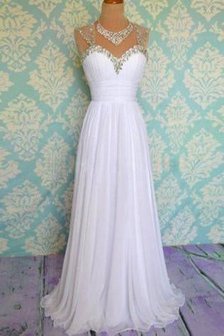 White Beading Long Chiffon Prom Dresses Evening Dresses JS495