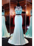 Two Pieces Beading Bodice Long Satin Prom Dresses Evening Dresses JS563