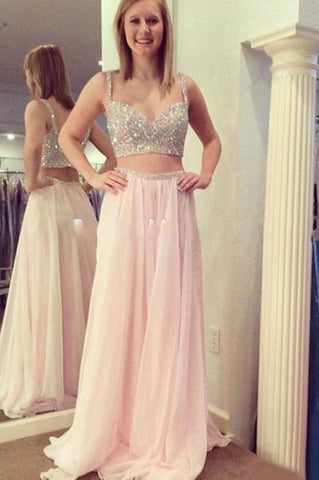 Two Pieces Beading Bodice Long Chiffon Prom Dresses Evening Dresses