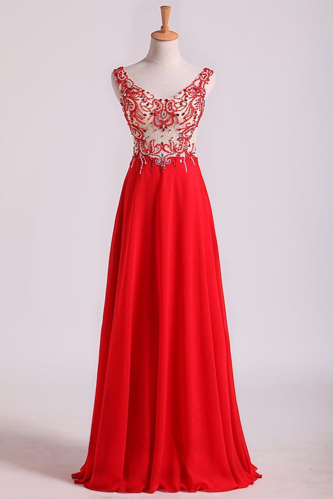 2019 Bicolor Off The Shoulder Floor Length Prom Dress Beaded Lace Bodice Chiffon