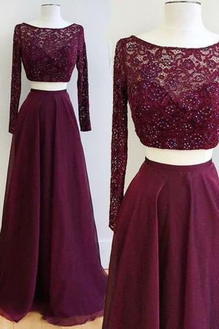 Two Piece Burgundy Bateau Long Sleeves Floor-Length Prom Dress with Lace Beading JS607