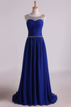2019 Scoop Prom Dresses A Line Pleated Bodice Chiffon With Beads Dark Royal