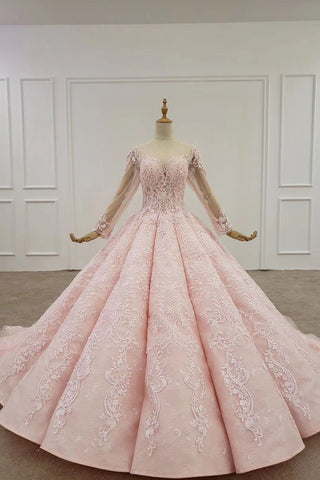 Elegant Ball Gown Pink Long Sleeves Appliques Prom Dresses, Quinceanera SME20482