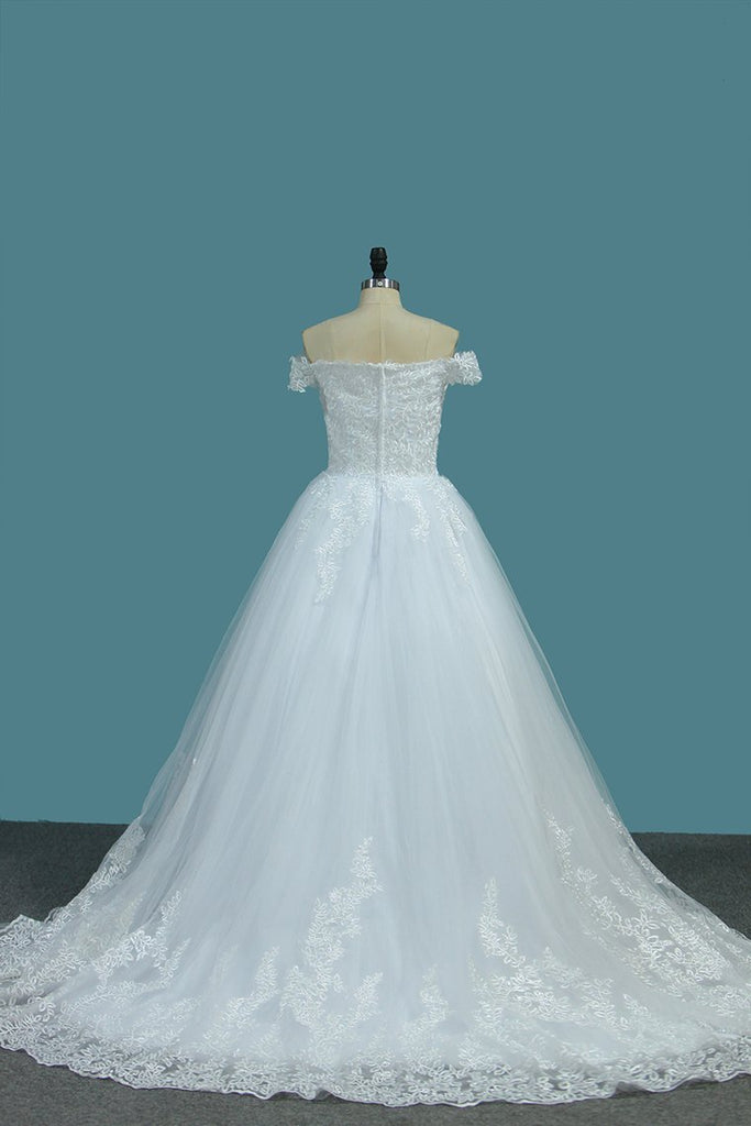 Tulle A Line Off The Shoulder Wedding Dresses With Applique