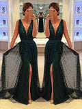 Sheath Deep V-Neck Sweep Train Dark Green Lace Sleeveless Prom Dress with Split Sequins JS697