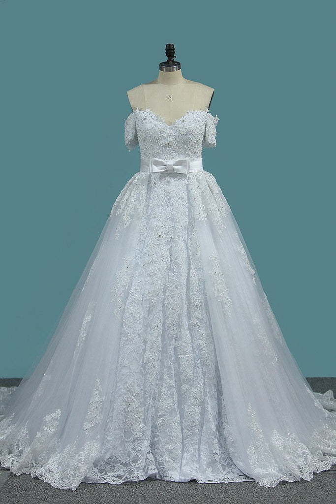 Sheath Tulle Off The Shoulder Wedding Dresses With Applique