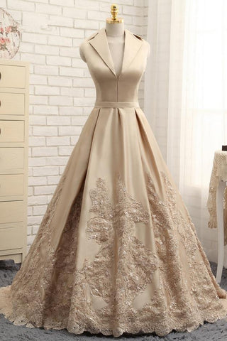 Special A-line V-neck Cap Sleeves Satin Appliques Lace Long Formal Evening Dresses SME429