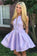 A-Line Above-Knee Lilac Satin Printed Homecoming Dress With