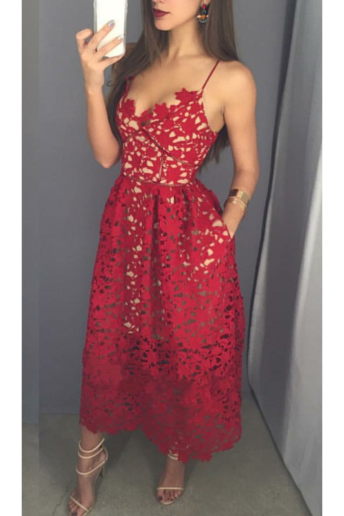 Mid-calf Red Lace Spaghetti Straps with Pockets Sweetheart Homecoming Dresses UK JS642