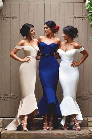 Mermaid Satin Off-the-Shoulder Sweetheart Backless High Low Prom Dresses Bridesmaid Dress SME254