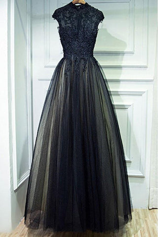 Vintage A Line Chic Long Black Lace Cap Sleeves High Neck Beads Appliques Prom Dresses JS76