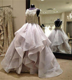 Long Scoop Fluffy Custom Unique Backless Ball Gown Sleeveless Organza Prom Dresses JS617