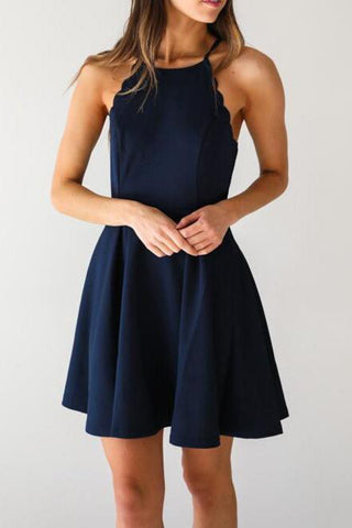 A Line Dark Navy Cute Halter High Neck Satin Short Homecoming Dress SM267