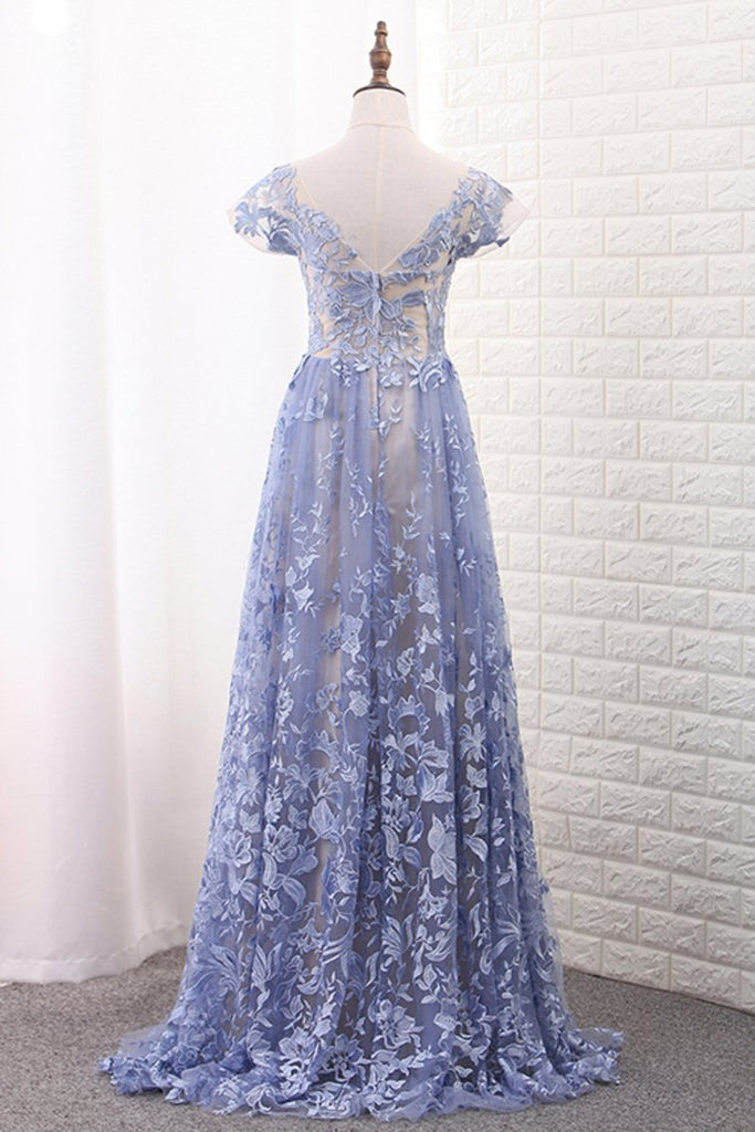 2021 Off The Shoulder Short Sleeves A Line Lace Prom Dresses Sweep