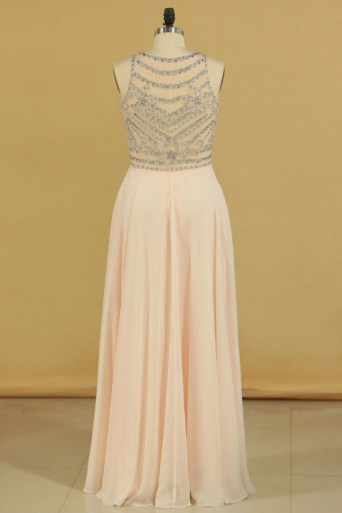 Prom Dresses Scoop Beaded Bodice A Line Chiffon Floor Length