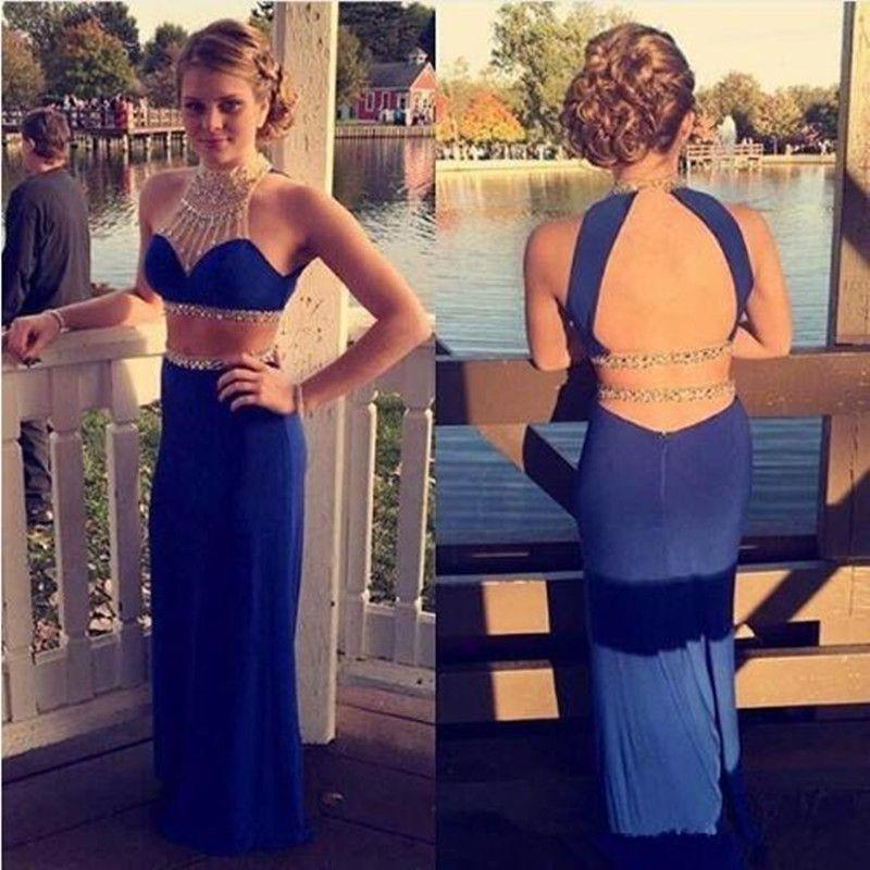 Sexy Two Pieces Open Back Royal Blue Mermaid Halter High Neck Beading Long Prom Dress WG572
