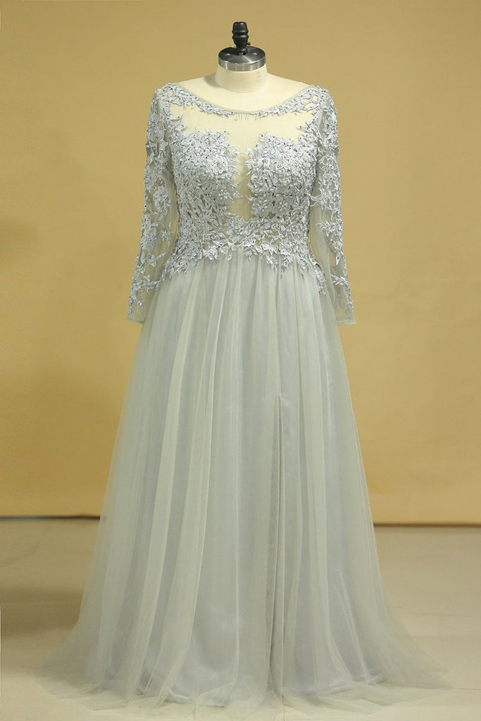 2020 Long Sleeves Prom Dresses Bateau With Slit & Embroidery Tulle Floor Length Plus Size