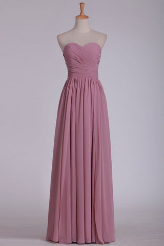 2021 A Line Sweetheart Bridesmaid Dress Floor Length Chiffon With Ruffles