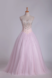 2021 Ball Gown Tulle Sweetheart Beaded Bodice Floor Length Quinceanera Dresses