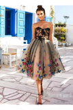 SweetHeart Neckline A Line Homecoming Dresses Colorful Butterflies Appliques Short Prom