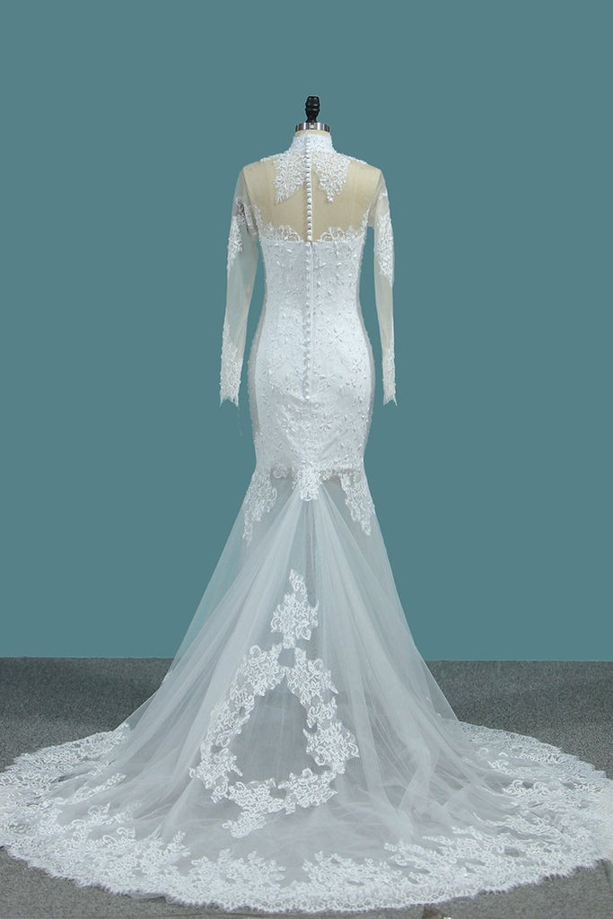 2020 Mermaid Wedding Dresses High Neck Long Sleeves Tulle With Applique And