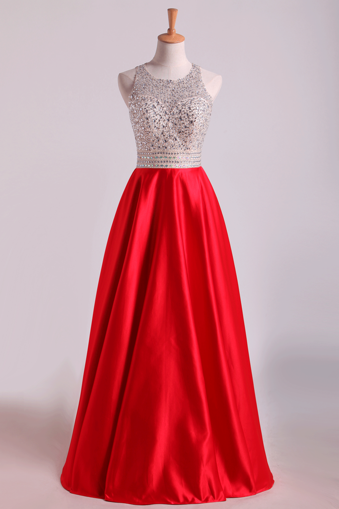 2019 Scoop Open Back Beaded Bodice A Line Prom Dresses Satin &
