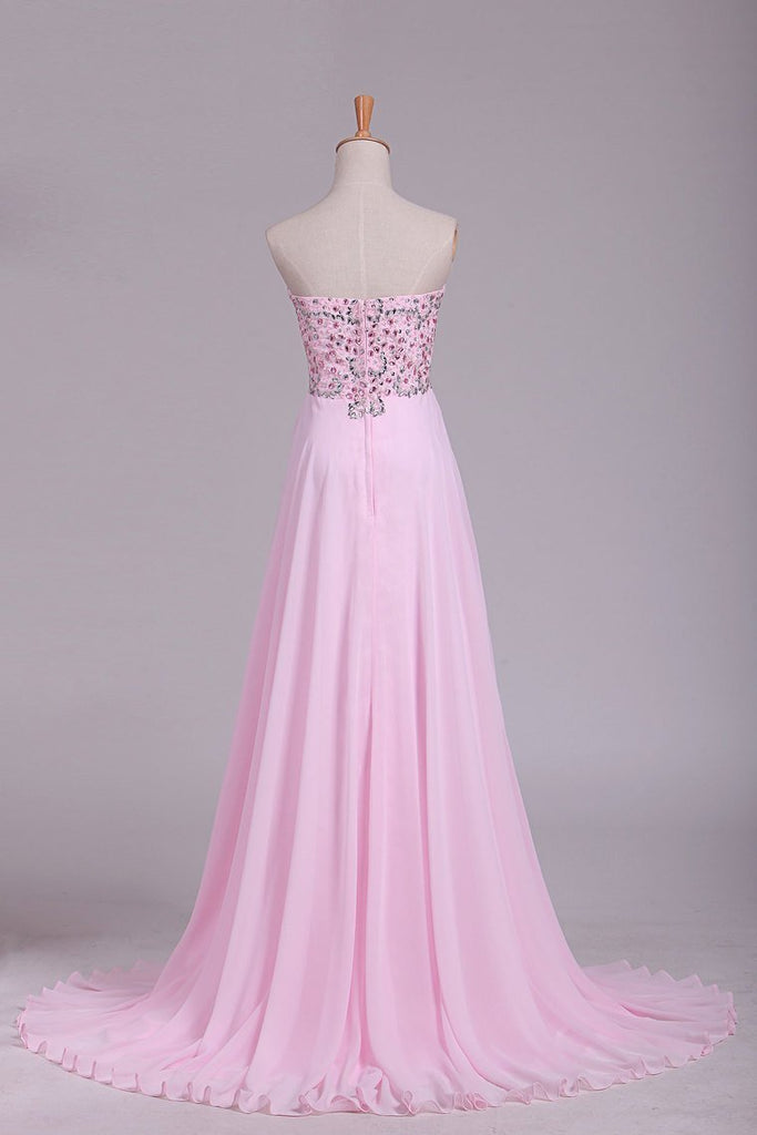 2020 Hot Prom Dresses Sweetheart With Beading Floor Length Chiffon