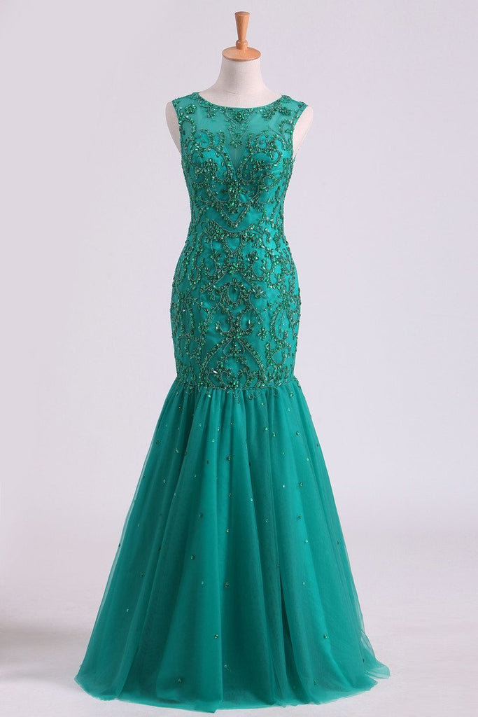 Scoop Beaded Bodice Prom Dresses Mermaid Tulle Floor