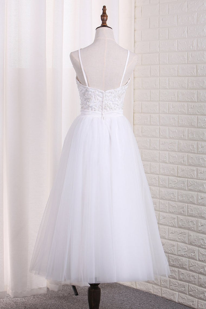 Spaghetti Straps A Line Bridesmaid Dresses Tulle With Embroidery