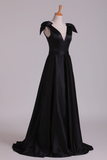 2020 Deep V-Neck Evening Dresses A-Line Satin With Bow-Knot & Ribbon