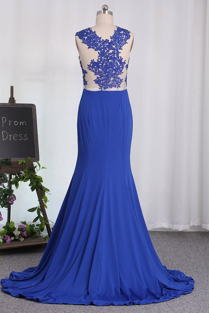 2021 Mermaid See-Through Scoop Prom Dresses With Applique
