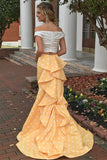 Pretty Ivroy And Yellow Long Mermaid Modest Prom Dresses Prom