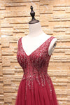 Simple A-Line Burgundy V-Neck Beads Tulle Long Sleeveless Slit Backless Prom Dresses JS241