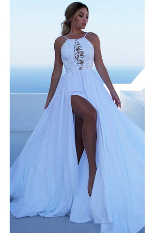White Backless Long Prom Dress Split Spaghetti Strap Party Maxi