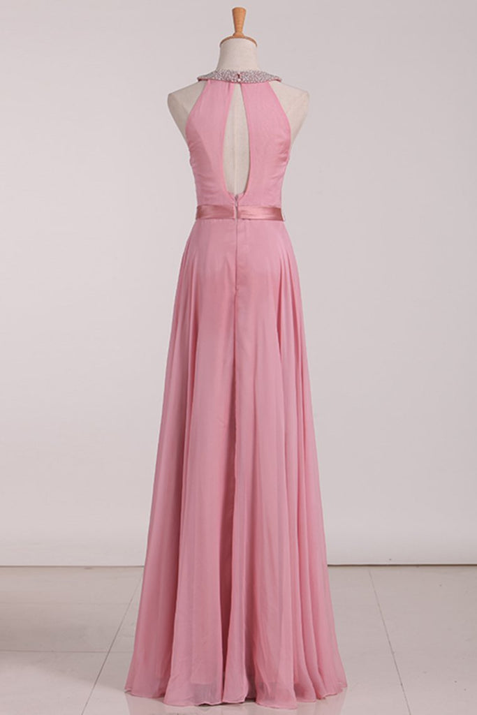 2021 Open Back Bridesmaid Dresses A Line Scoop With Ruffles And Beads