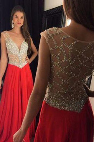Red Prom Dress Slit Prom Gowns Mermaid With Rhinestones Crystal Chiffon Plus Size Dresses JS151