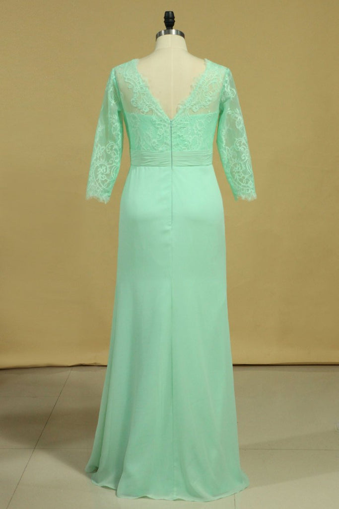 2020 3/4 Length Sleeve Mother Of The Bride Dresses V Neck Chiffon With Applique